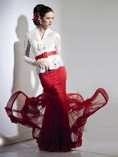 white kebaya with red skirts.