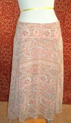 NWT BANDOLINO peach floral polyester A-Line Asymmetrical skirt 8 (T20-X2A6G) #BANDOLINO #ALine