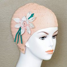 1950s 60s Swim Cap Pink Flower Applique Bathing by daisyandstella, $15.00