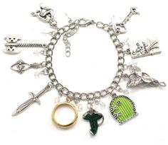 Antique silver tone with 10 charms Includes the one ring, hobbit door, Elvin brooch, Arwen Evenstar, Gollum, Leaf of Lorien, and sword.