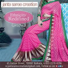 Redifine your ethnicity by wearing our beautiful designer sarees! #DressRight #Style #Fashion #JantaSareeCreation