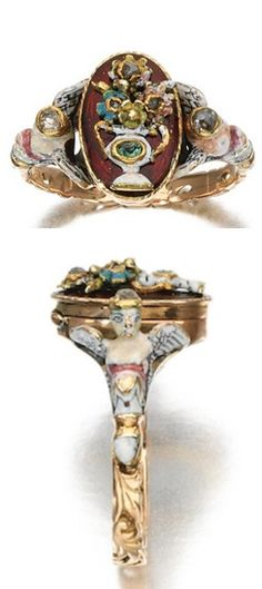 ENAMEL, EMERALD AND DIAMOND RING, LATE 18TH CENTURY Set at the centre with an oval hinged locket of giardinetto design, applied to the top with a vase of flowers decorated with polychrome enamel, enhanced with a mixed-cut emerald and rose diamonds, the shoulders accented with a pair of winged enamel figures with rose diamond crowns to an open work foliate scroll shank.