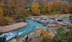 Little Mulberry River, Ozark National Forest Fall colors at Little Whiplash rapid on The Little Mulberry River