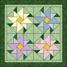 flower quilt block pattern - Google Search