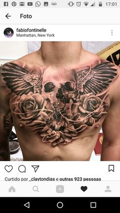Contact us for bookings and enquiries🤓 . 📧 holytrinitytattoos@ 📱Call us on 07963606034 . Sponsored by: - - B&G Tattoo Artwork Artist IG: Chest piece b. Chest Tattoo Skull, Eagle Chest Tattoo, Full Chest Tattoos, Chest Piece Tattoos, Skull Tattoos, Leg Tattoos, Body Art Tattoos, Tattoos For Guys, Sleeve Tattoos