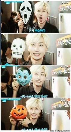 Hyukjae's faces of Halloween | http://www.allkpop.com/meme_view/neaj51
