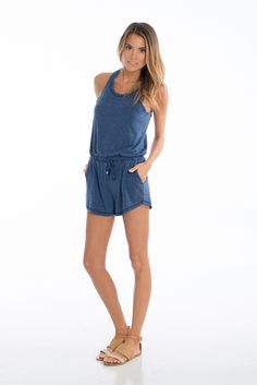 Romping Around Blue Romper