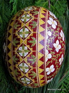 Incredibly intricate & beautiful decorated ostrich egg  hand created by a local artist using a wax resist method with beeswax and natural dyes. Monches Farm.