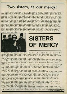 Sisters Of Mercy, Two Sisters, Andrew Eldritch, Goth Bands, Gothic People, Sister Photos, Alternative Girls, The Cure, Music