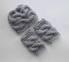 SET Baby Boy Hat and Leg WarmersNewborn Baby Boy by KnittingLand, $29.00