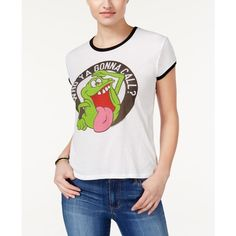 Mighty Fine Juniors' Ghostbusters Slime Graphic Ringer T-Shirt ($9.99) ❤ liked on Polyvore featuring white