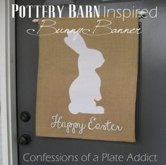 """""""Happy Easter"""" Burlap Bunny Banner {Inspired by Pottery Barn} Spring Projects, Spring Crafts, Diy Projects, Burlap Projects, Happy Easter, Easter Bunny, Easter Food, Easter Eggs, Paint Chip Cards"""