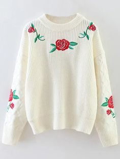 $43.99 Rose Embroidered Sweater - OFF WHITE ONE SIZE