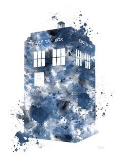 La Tardis, Ilustración de la lámina de Doctor que arte, caja de policía, arte de la pared, decoración del hogar