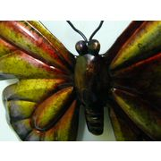 """Contemporary Metal Wall Art """"Flat Purple Butterfly With Curved W"""