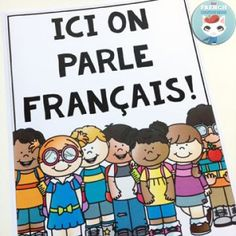 """French Back-to-school Resources: blog post with links to tons of FREE printables, videos for """"la rentrée scolaire"""", and much more! (image: FREE """"Ici on parle français!"""" poster)"""