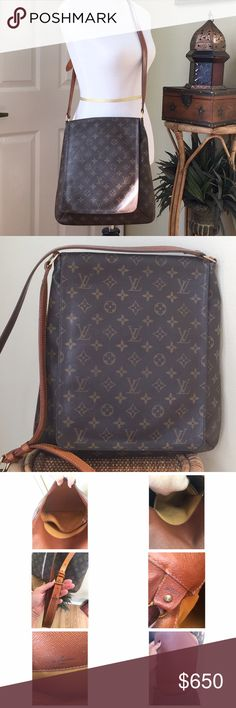LOUIS VUITTON MUSETTE SALSA GM This is such a great bag!! I purchased this in 2000 at the LV store in Orlando, FL.  The interior is in good condition, pen marks are in the small interior pocket.  There is some minor cracking by the straps from normal use(pic #4). Minor wear to the bottom piping and the strap is in good condition (the dark Mark is from the hardware.) Brown and tan monogram coated canvas with brass hardware, adjustable strap, flap closure at front. Date code SD…