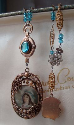 'blue bonnet' vintage assemblage necklace with lithograph portrait pendant by The French Circus on Etsy