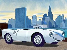 James Dean Porsche in front of New York Skyline