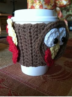 10 FREE Crochet Patterns for Your Thanksgiving Dinner Table: Turkey Mug Wrap FREE Crochet Pattern