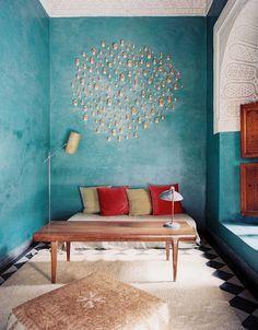 wall decor Lonny Magazine August 2012 | Photography by Patrick Cline; Interior Design by Riad El Finn