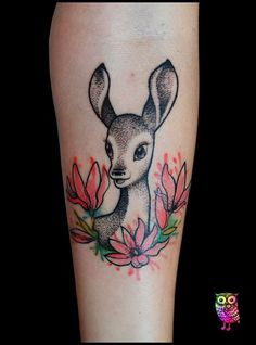 Bambi tattoo by ZsuzsInk (Tattoo Face)