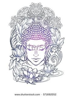 Buddha head - elegant vector illustration. The symbol of Hinduism, Buddhism, spirituality and enlightenment. Tattoo, illustration, printing on fabric