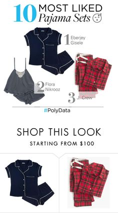 """PolyData: 10 Most Liked Pajama Sets"" by polyvore ❤ liked on Polyvore featuring Eberjey, J.Crew, Flora Nikrooz, women's clothing, women, female, woman, misses, juniors and pjs"
