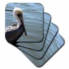 3dRose pelican head left side against river, Ceramic Tile Coasters, set of 4