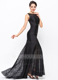 Trumpet/Mermaid Scoop Neck Sweep Train Lace Jersey Evening Dress With Beading Sequins (017051398)