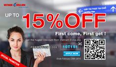 Discount 15% to get Vietnam Visa On Arrival with promotion code: 10T151 at Vietnam-Evisa.Org