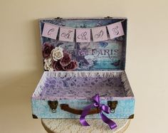 One off piece, ready to ship!  Vintage shabby chic style card suitcase and Cards frame.  Place this adorable suitcase at your wedding venue for guests to pack their cards filled with best wishes and love.  With all its little details, its a perfect way to add that extra finishing touch to your special day.  The calligraphy letters are hand drawn by myself on a miniature frame bringing a personal handmade aspect. Made from sturdy cardboard and quality metal fastenings, the case is…