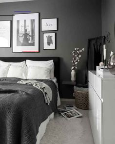 Royal bedding from Royfort in white and grey room ideas grey Room Ideas Bedroom, Bedroom Colors, Home Decor Bedroom, Grey Room Decor, Grey Bedroom Design, White Bedroom Decor, Grey Bedroom Furniture, Black And Grey Bedroom, Grey Bedrooms
