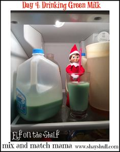 Mix and Match Family: On the 4th Day of Christmas: My elf was caught drinking green milk!