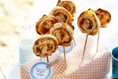Love it - what a great idea!  Hawaiian pizza pops - pizza wheels on sticks! Clever mini party food