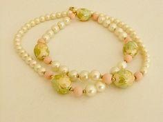 Vintage Japan Pink White Cloisonne Beaded Necklace by ediesbest, $12.95