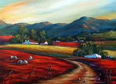 ♥ Landscape Art, Landscape Paintings, Oil Paintings, South African Artists, Naive Art, Flower Art, Paint Colors, Beautiful Pictures, Art Gallery