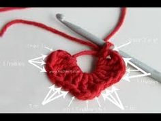 In this video I will show you step by step how to make a crochet Heart Very easy project, you can use it for key holder, make some Valentines day gift, or decorate a purse.. Diy, Tutorial, How, Art, Make, Heart, Tuto,