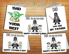 Star Wars Fathers Day Card For Dad Gift From Son Luke