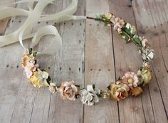 Floral crown wedding summer spring outdoors flowers country bride beauty indie bridesmaid crown