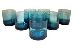 Deep Turquoise Blue Glasses, S/8