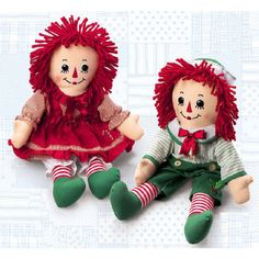 Raggedy Ann Andy 2010 Christmas Holiday Dolls Only ONE pair available ❤ liked on Polyvore