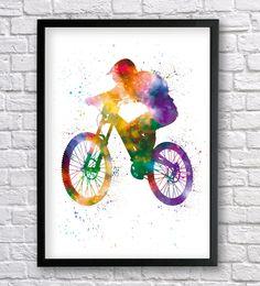 Mountain Bike watercolor print, Downhill Biker, Cyclist Print, Sport Poster, MTB Wall art, MTB freerider, Freeride jump decor, Bycicle Art by Recyman on Etsy