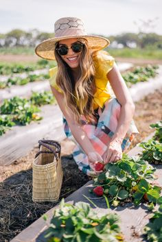 Gal Meets Glam Strawberry Picking -Sea top, Ace & Jig skirt, Frye sandals, Preston & Olivia hat, Global Goods tote & Ray Ban sunglasses