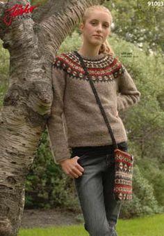 91003 mönster tröja och väska lettlopi