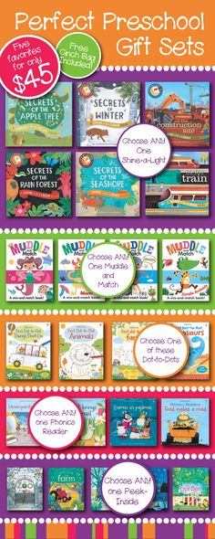 5 of your favorite Usborne titles for preschoolers for only $45! You pick: - One of our best selling, shine-a-light titles  - One of our best-selling, muddle and match titles  - One of our great Dot-to-Dot activity books  - One Phonics Reader  - One of our beautiful Peek-Inside Lift-a-Flap
