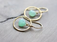 Chrysoprase hoop earrings - hammered gold hoops with chrysoprase briolettes - Halo Collection