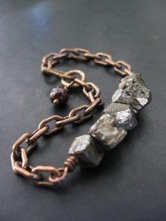 .pyrite bracelet+vintage brass chain+garnet