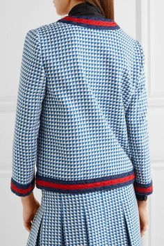 Gucci - Striped Houndstooth Wool-blend Jacket - Blue - IT44