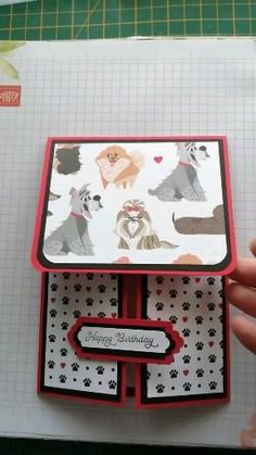 Shop for all your supplies to make this and more jadescreations.stampinup.net Dog Cards Handmade, Handmade Birthday Cards, Happy Birthday Cards, Fun Fold Cards, Pop Up Cards, Folded Cards, Cat Cards, Kids Cards, Card Making Templates